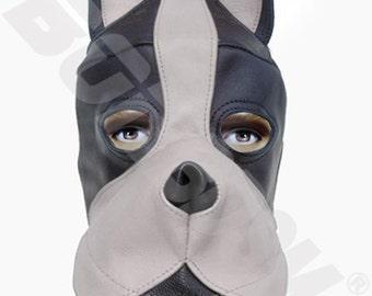 bdsm DOG mask hood black & white with silicone mouth gag, leather fetish bondage gimp mask hood, Mature