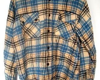 Men's Vintage Flannel Shirt Jacket by Grenoble Size Large