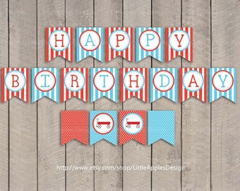 Red Wagon Birthday Banner / Red Wagon Banner / Little Red Wagon Birthday Banner / Red Wagon Printable / Red Wagon Decoration