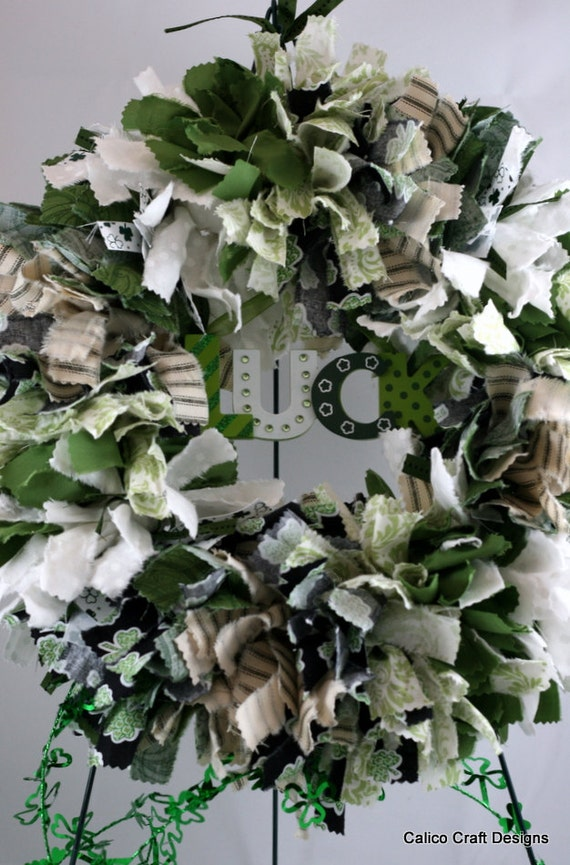 St. Patrick's Day - Lucky, Green, Round, Fabric Rag Wreath