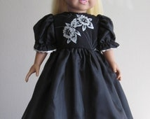 "Black and silver evening gown for an 18"" doll."