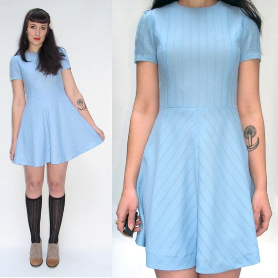 Vintage 60s BLUE BABYDOLL DRESS // Light Blue Princess Dress