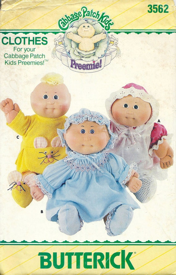 butterick 3562 cabbage patch preemies clothes sewing pattern