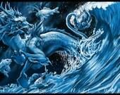 Celestial Asian Dragon and Koi Party Fine Art Print