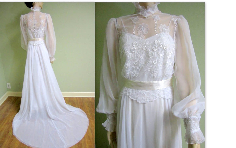 Vintage 1970s Edwardian Wedding Dress/House Of