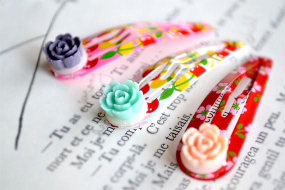 Cherry and Flower Print Hair Clips in Pink White and Red (Set of Three)
