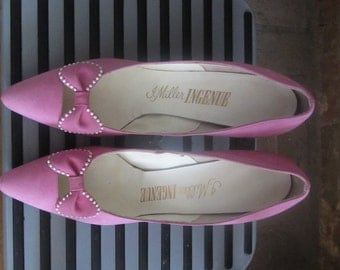 1960s I. Miller barbie pink stiletto heels | 60's Old Hollywood Mid Century | Size 8