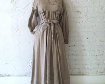 The Puritan Prairie Raw Cotton Dress w/ Asymmetrical Collar † Self Belt-Vintage Dress