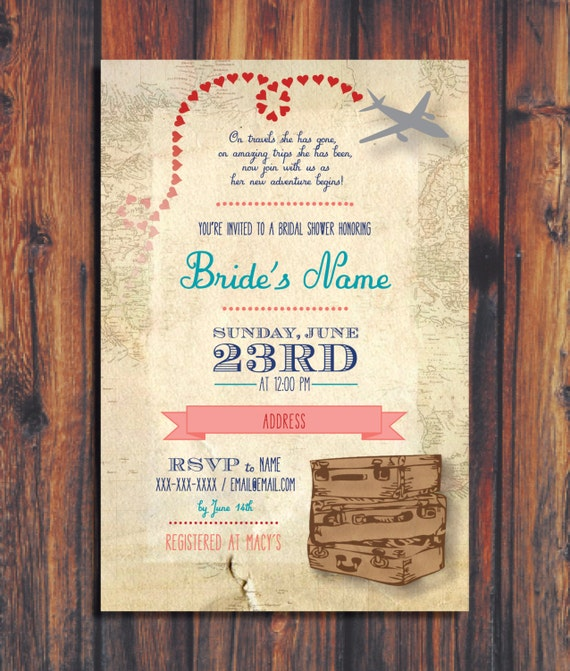 Travel Wedding Shower Invitation By ConteurCo On Etsy