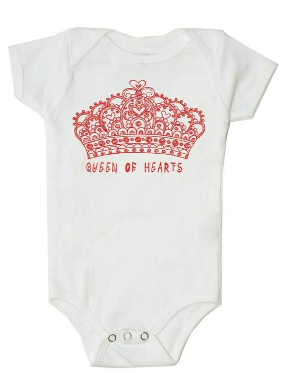 Funny Baby bodysuit funny baby shirt in Pink ....Queen of Hearts baby Girl Bodysuit