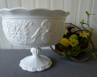 Large milk glass compote