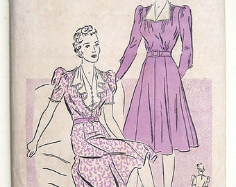 Sale - 40s Afternoon Dress Advance Sewing Pattern 2529, Ruffled Collar & Puff Sleeves.