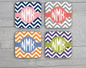 Coasters  - Square or Round Chevron Print Personalized Monogram