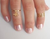 Star Ring -  Gold Star Rings, gold thin shiny rings with a dangling star sign - set of 4 midi rings, unique gift