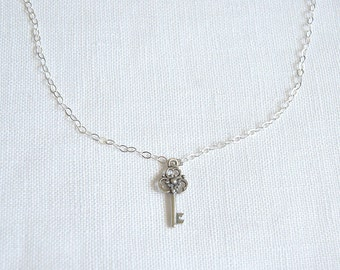Sale, Key Necklace, Sterling Silver, Skeleton Key Charm Pendant, Everyday Necklace, LIJ13043