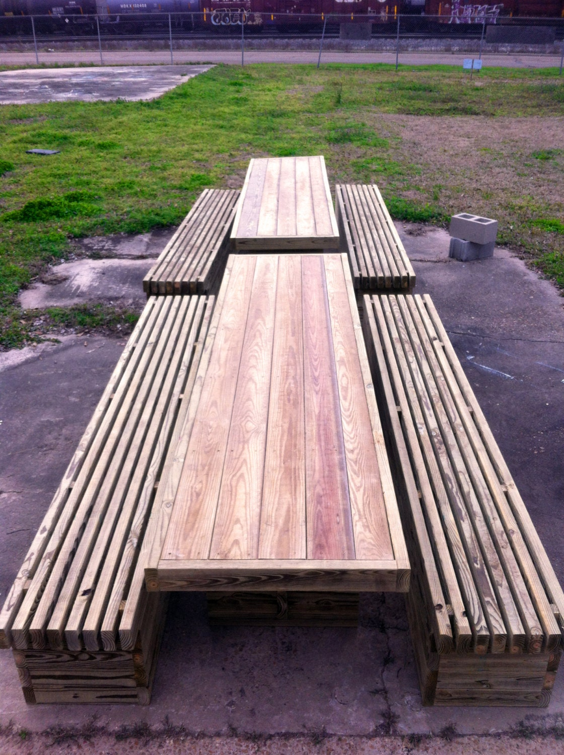 Rowan Outdoor Table and Benches Modern by modernfurnishings
