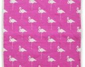 Flamingo Summer Pocket Square - White Pink Linen - Gift For Him - Wedding