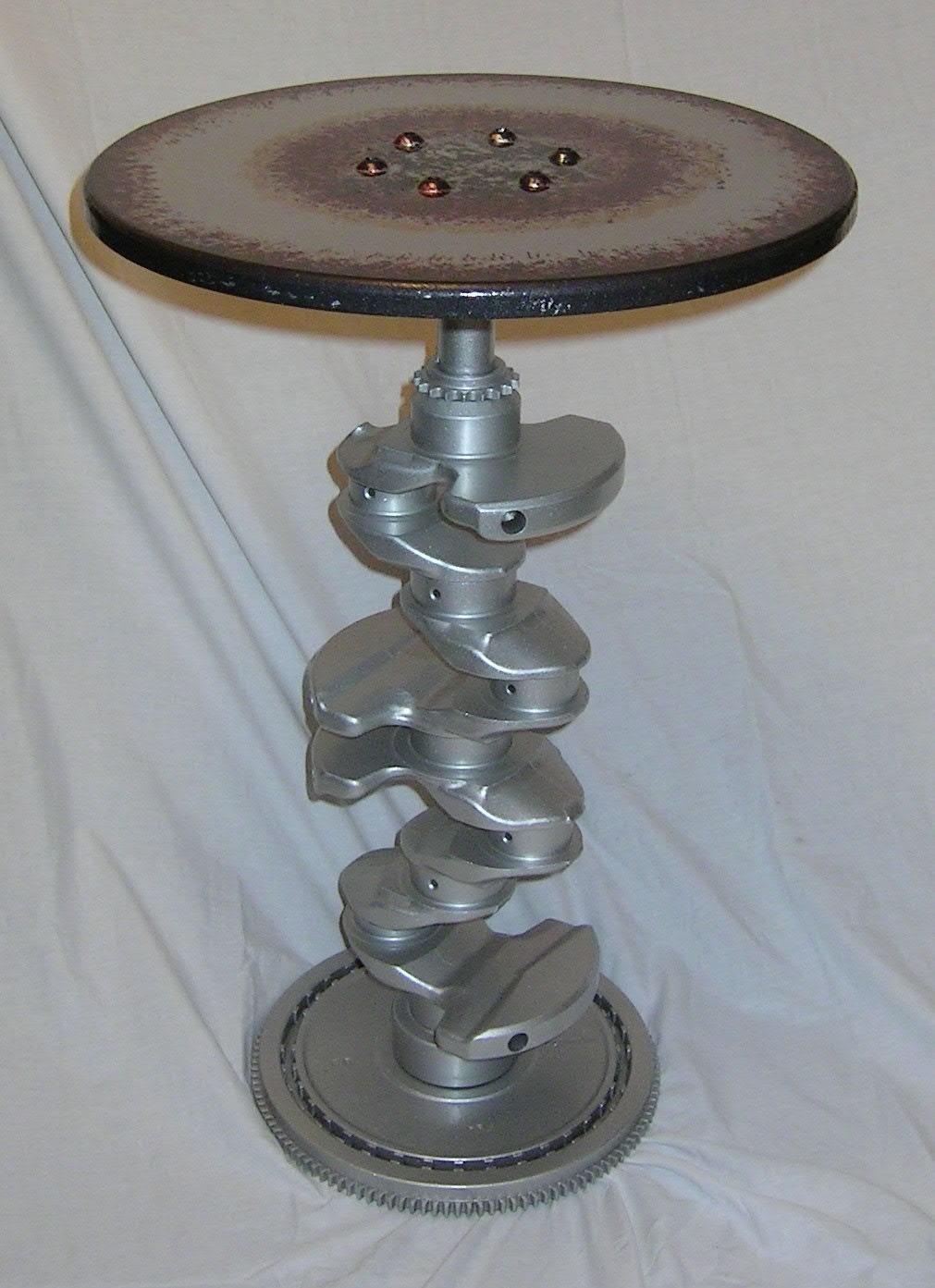 Hand Made Real Engine Crankshaft Wine Side Table Hot Rod Drag