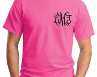 Monogrammed Tshirt- Short Sleeve   Great for Bridesmaids, Teens, Graduation, Best Friends, Greek, and Birthday Gifts