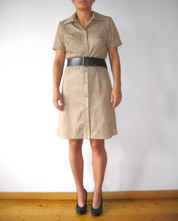 1970s Beige Button Up Dress Taupe Crimplene Jersey Military Uniform ...