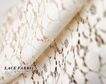 Tan Cotton Lace Fabric by the Yard, Ivory Tan Vintage Lace Fabric, Cotton Lace Fabric  1 Yard Style 200