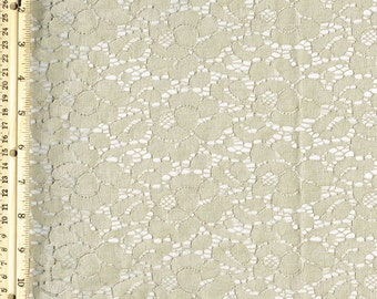 Sand Lt Cotton Lace Fabric by the Yard Wedding Bridal Craft Lace Material Cotton Sand Lt Lace Fabrics - 1 Yard Style 200