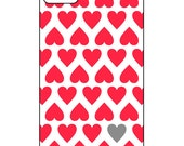 Custom iPhone 4/4s Case - Red Grey Hearts - Choose your colors