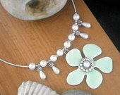 Upcycled Statement necklace choker with 60's Retro Green Daisy, eco-friendly