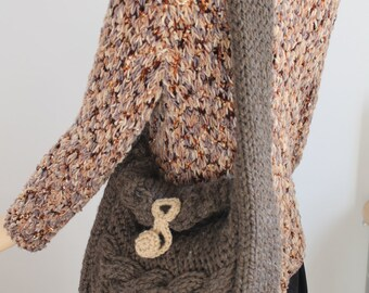 Hand Knitted Brown Cable Handbag