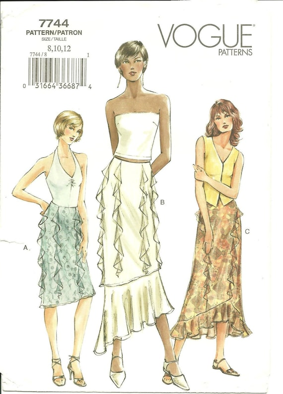 Vogue 7744 Pattern - Misses' Skirt - Lined - Semi-Fitted - Feminine - Special Occasion - Size 8, 10, 12  - Uncut