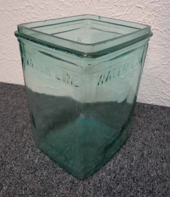 Antique Late 1800s 1930s Wet Cell Battery Aqua Glass Jar Made
