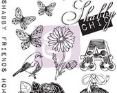 """Prima """"Lady Bird"""" Cling Stamp Set - Rubber & Cling Mounted Stamps - 15 pcs"""