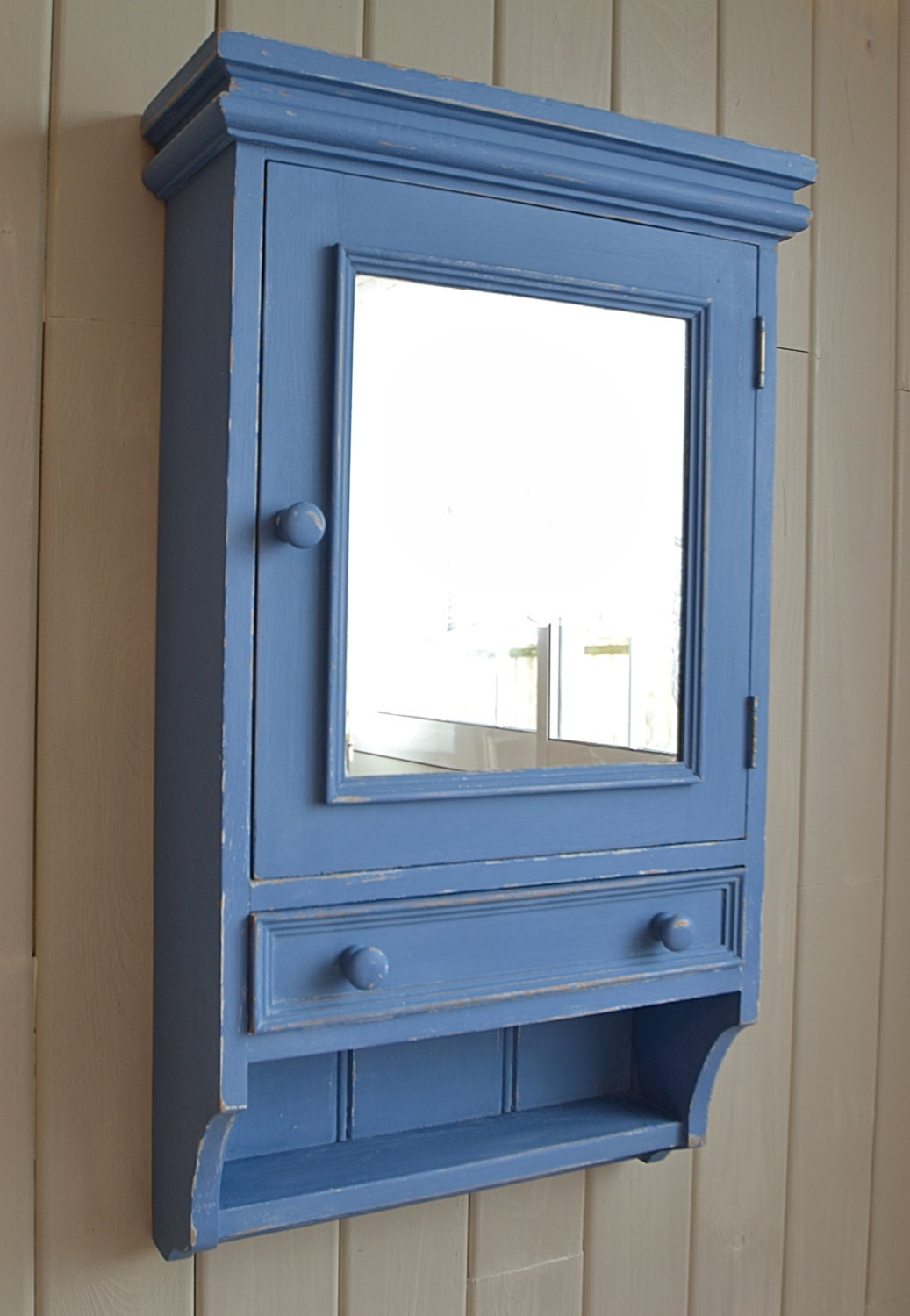 shabby chic blue bathroom wall cabinet free by thetreasuretroveuk