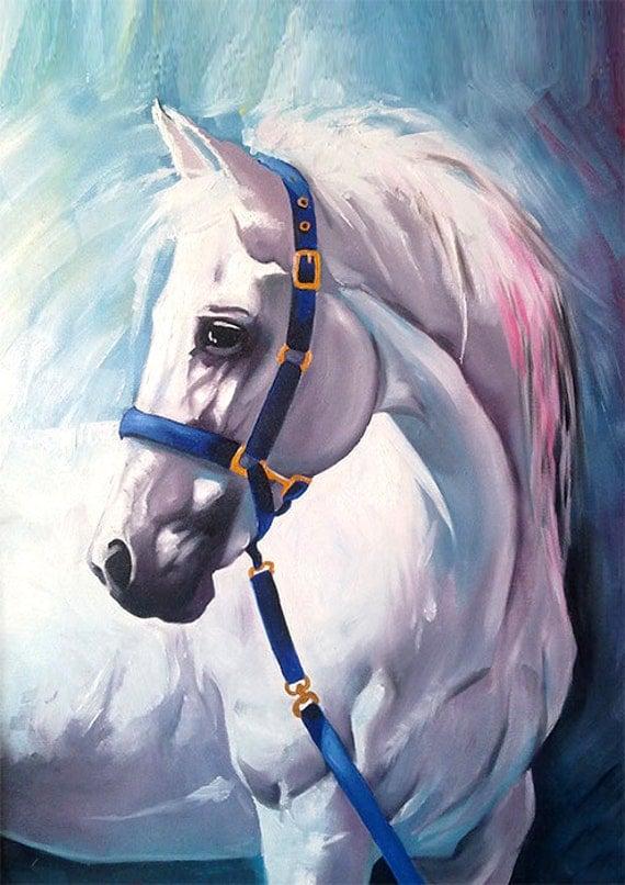 White horse oil painting print Animal illustration by SlaviART