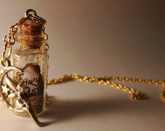 Fairy Dust Vial Necklace - Disney Tinkerbell Peter Pan Pixi Inspired - Handmade Corked Glass Bottle - Rose Gold Fairy Moon Star Charm