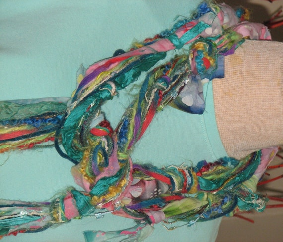 knotty scarves made from fabric scraps decorative yarns