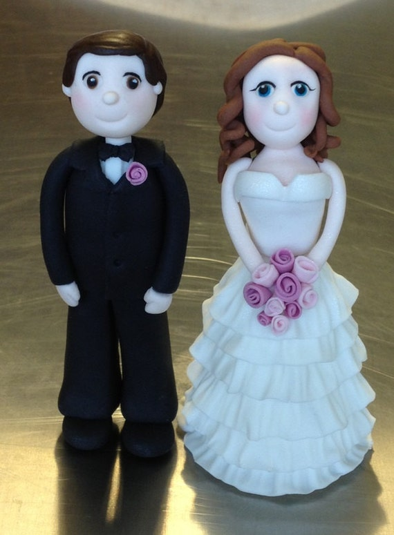 Bride And Groom Cake Topper Edible Fondant By CharmedCreationsCake