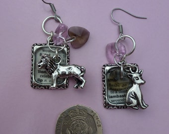 Twilight Inspired - Upcycled Dictionary - Lion fell in Love with the Lamb - Dangle Earrings