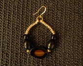 Tigress - Agate & Onyx Hoop Earrings, African Jewelry, Ethnic Jewelry, Tribal Hoop Earrings, Gemstone Earrings