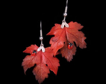Red Sycamore Leaf and Ladybird Earrings
