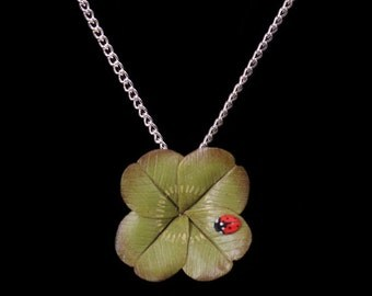Four Leaf Clover and Ladybird Necklace