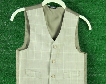 Boys plaid brown/beige suit vest sz. 9/10