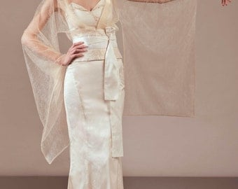 Amaterasu complete bridal outfit unique wedding dress ensemble alternative non-traditional Japanese inspired