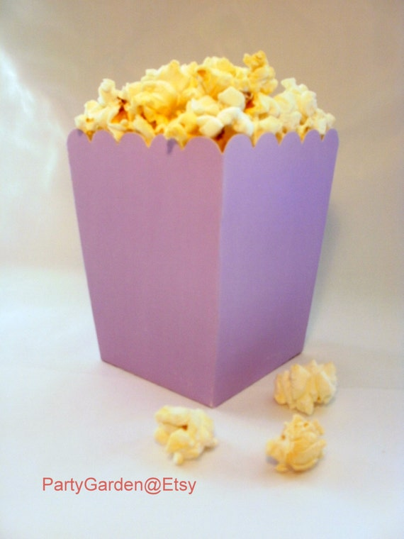 Blue Popcorn Favor Boxes : Mini light purple popcorn boxes treats favors by the