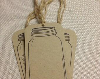 Mason Jar Gift Tag, Blank Mason Jar Gift Tag Set of 25