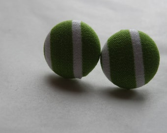 Popular items for green white striped fabric on Etsy
