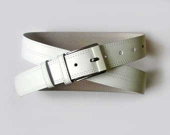 Leather belt in White color, ALL SIZES
