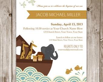 Digital File - Noah's Ark Baptism Invitation