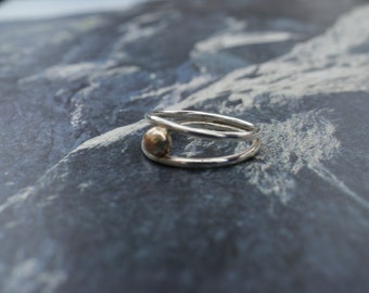 Silver Two Band Ring With Gold Ball Detail, Contemporary Ring, Asymmetric Ring, Silver and Gold Ring, wishbone ring