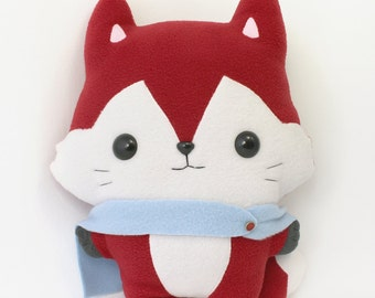 Fox plush sewing pattern - easy kawaii DIY plushie softie PDF - anime stuffed animal 14""